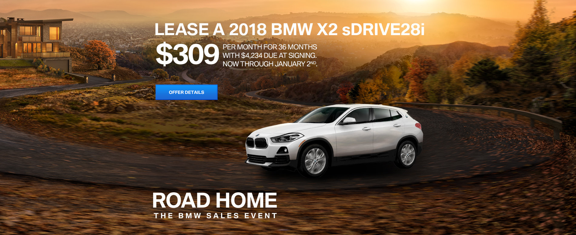 LEASE A 2018 BMW X2 sDRIVE28i FOR $309/MONTH FOR 36 MONTHS  WITH