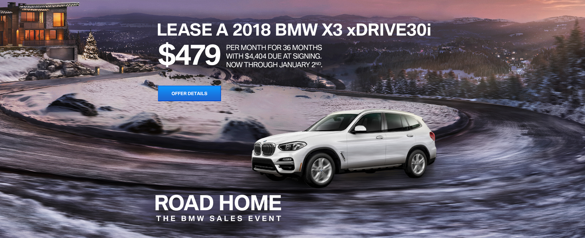 LEASE A 2018 BMW X3 xDRIVE30i FOR $479/MONTH FOR 36 MONTHS WITH
