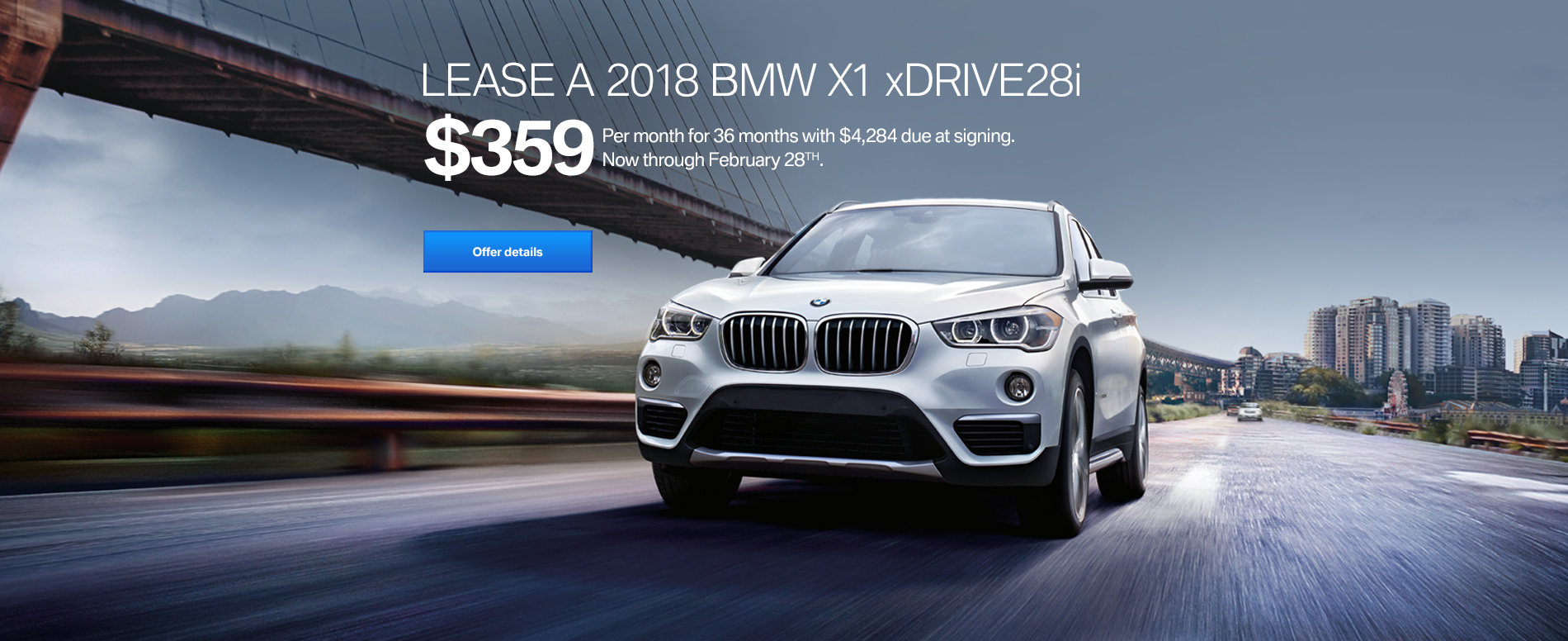 LEASE A 2018 BMW X1 xDRIVE28i FOR $359/MONTH FOR 36 MONTHS WITH