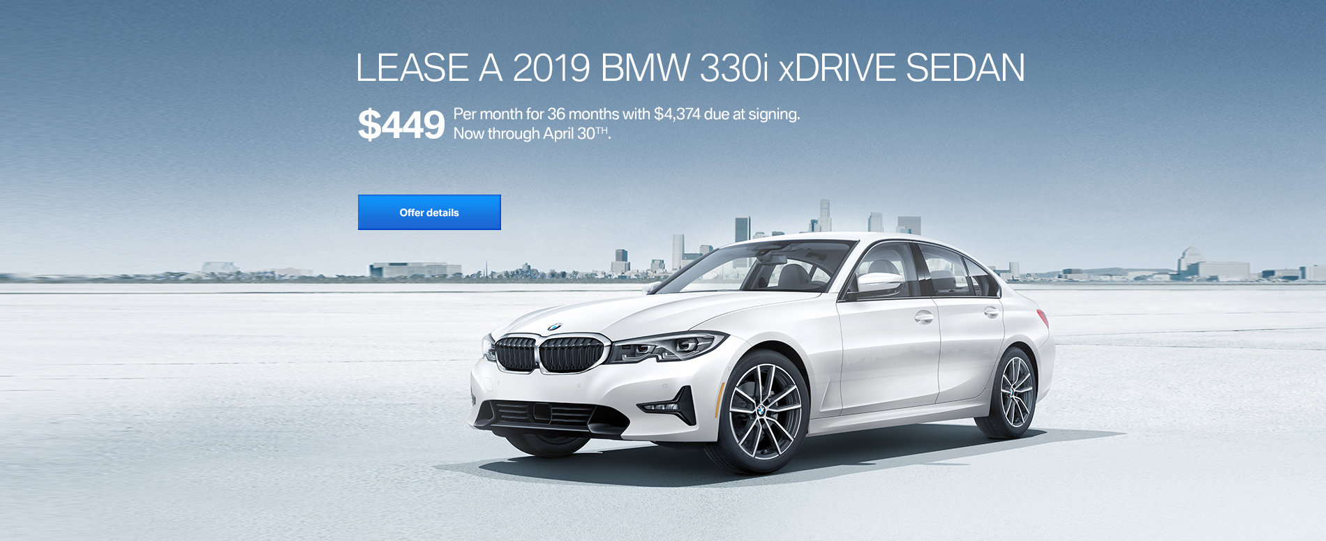 LEASE A 2019 BMW 330i xDRIVE FOR $449/MONTH FOR 36 MONTHS WITH $