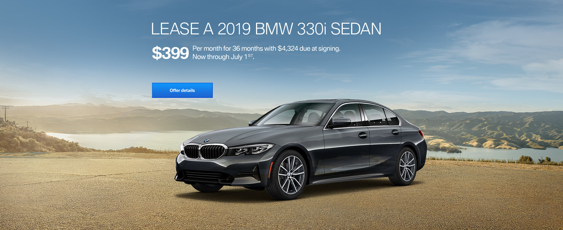 LEASE A 2019 BMW 330i  FOR $399/MONTH FOR 36 MONTHS WITH $4,324