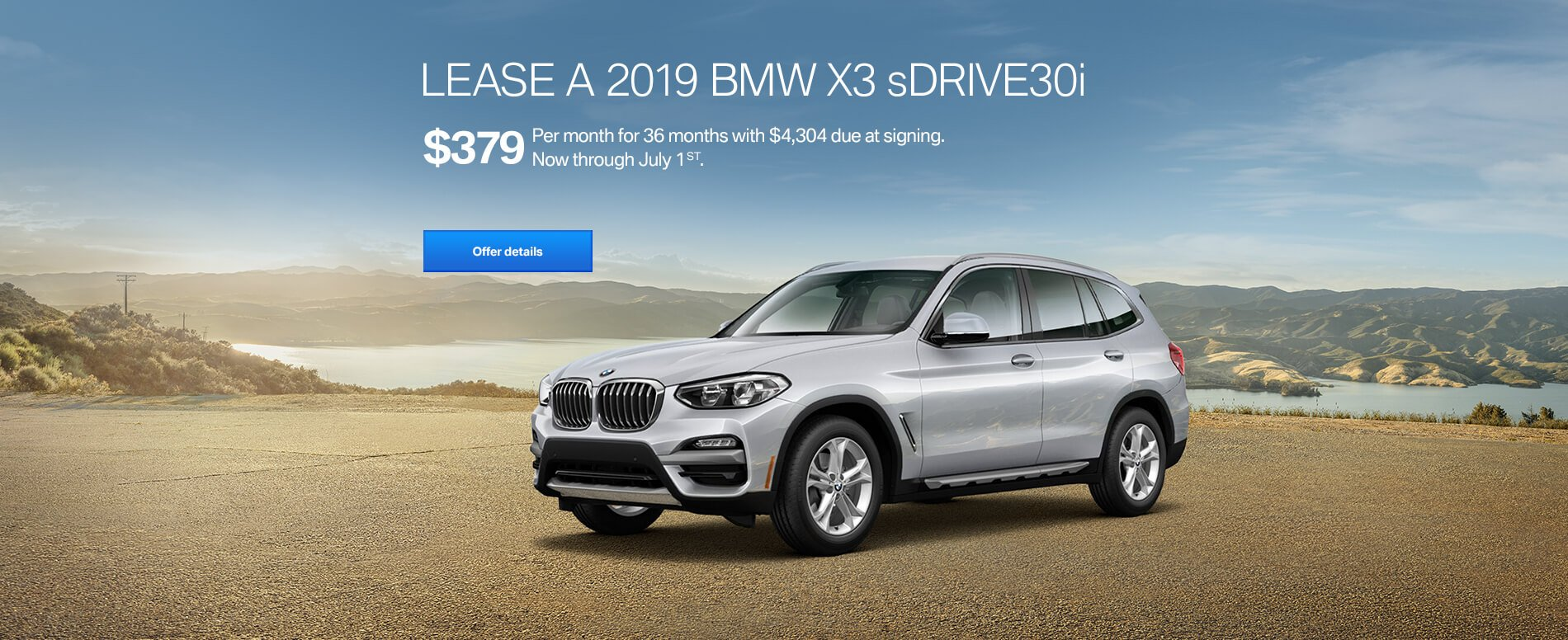 LEASE A 2019 BMW X3 sDRIVE30i FOR $379/MONTH FOR 36 MONTHS WITH