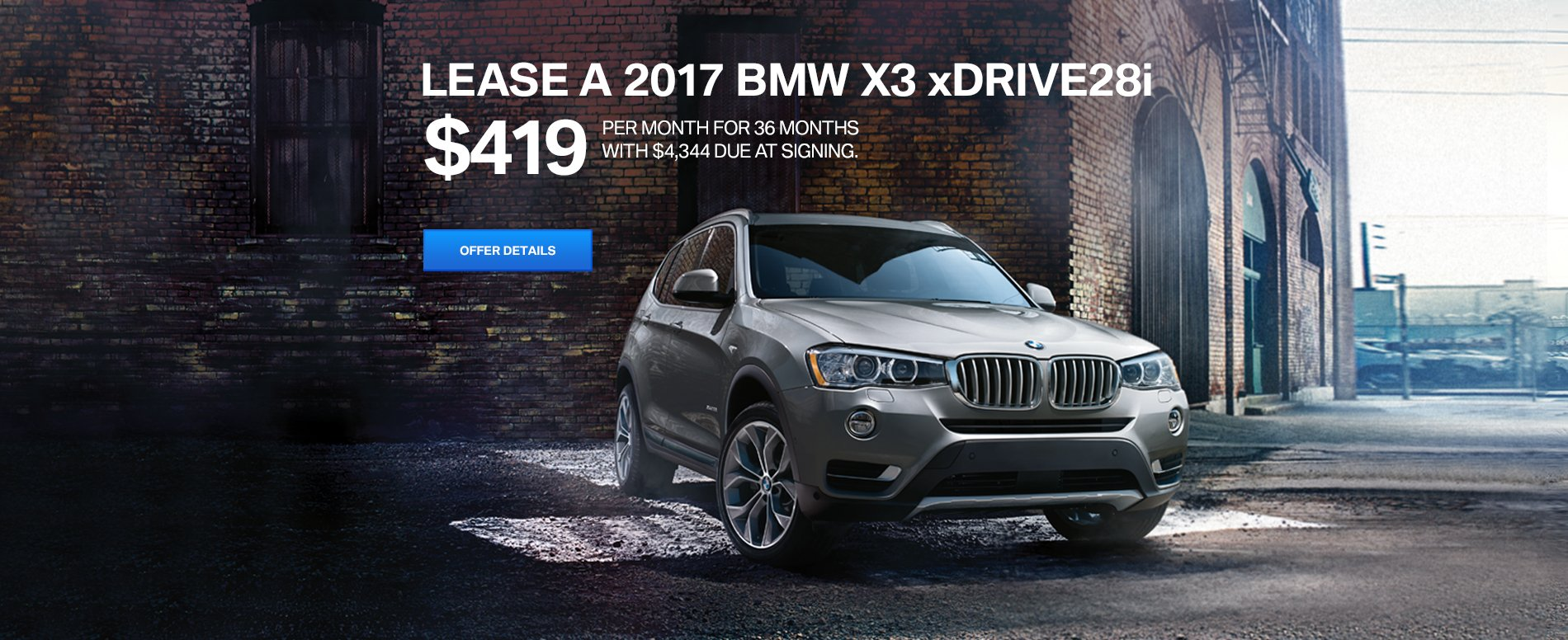 LEASE A 2017 X3 28i xDRIVE FOR $419/MO FOR 36 MONTHS