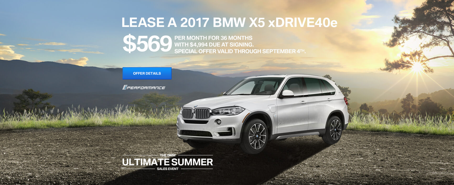 LEASE A 2017 X5 xDrive40e  FOR $599/MO FOR 36 MONTHS