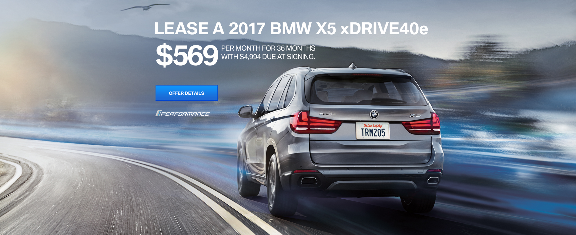 LEASE A 2017 BMW X5 xDRIVE40e $569 /MO FOR 36 MONTHS