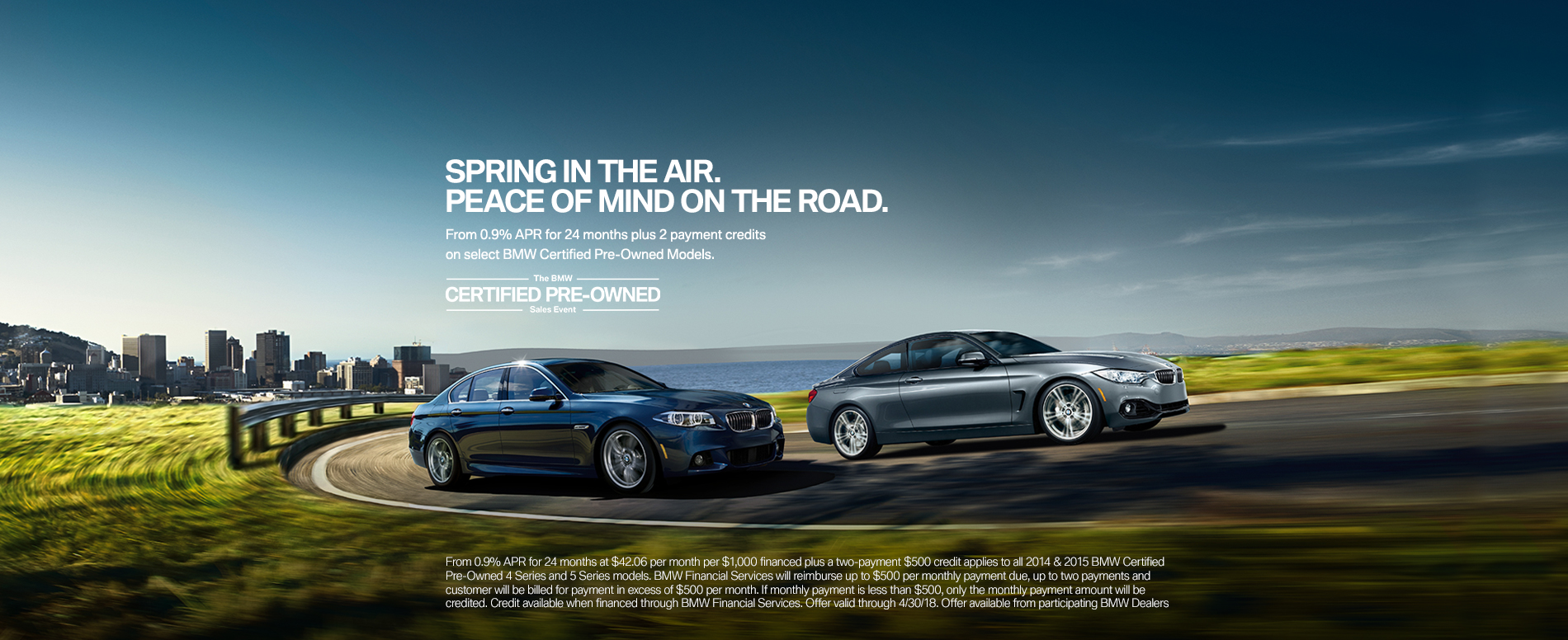 From 0.9% APR for 24 months plus 2 payment credits on select BMW