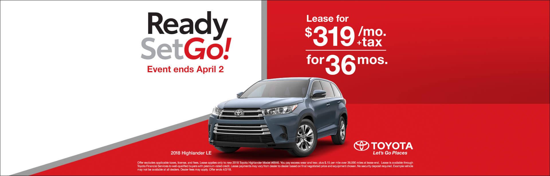 Toyota Highlander Lease Offer March 2018