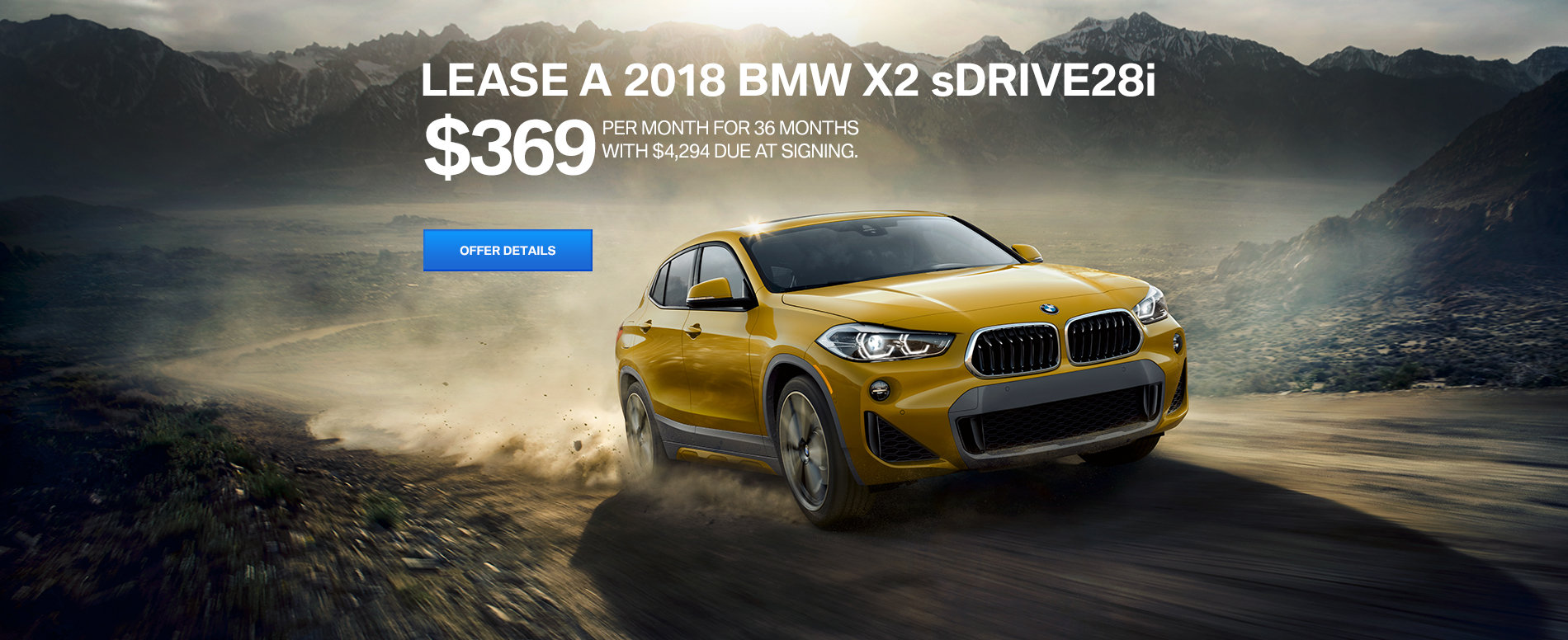 LEASE A BMW 2018 X2 sDRIVE28i FOR $369 /MO FOR 36 MONTHS.
