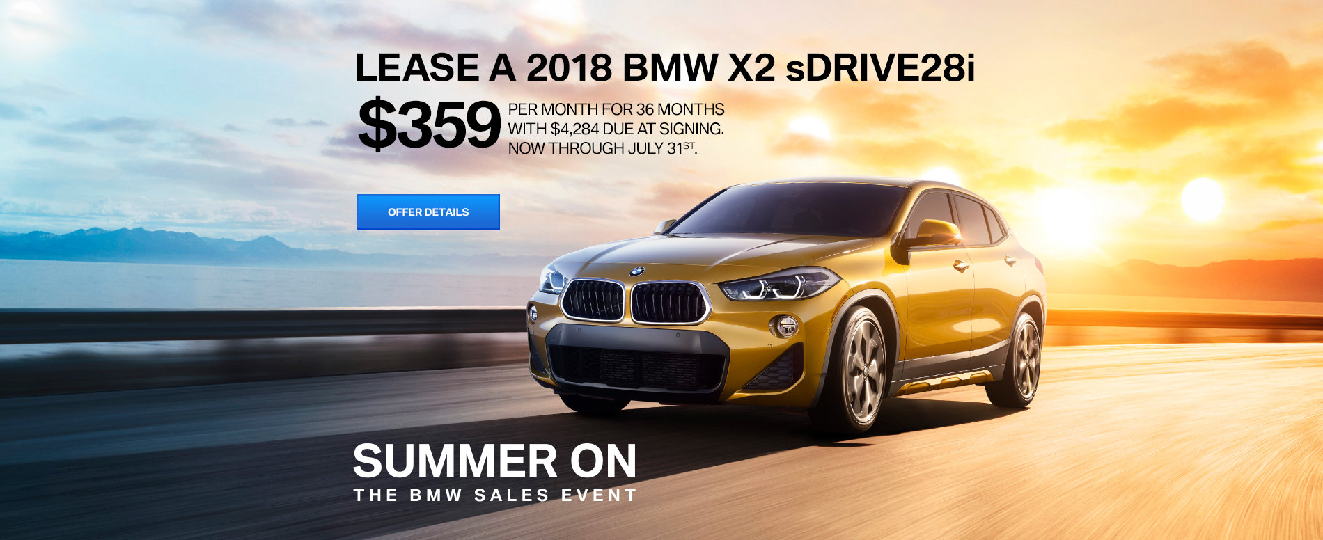 LEASE A 2018 X2 sDRIVE28i FOR $359 /MO FOR 36 MONTHS WITH $4,284