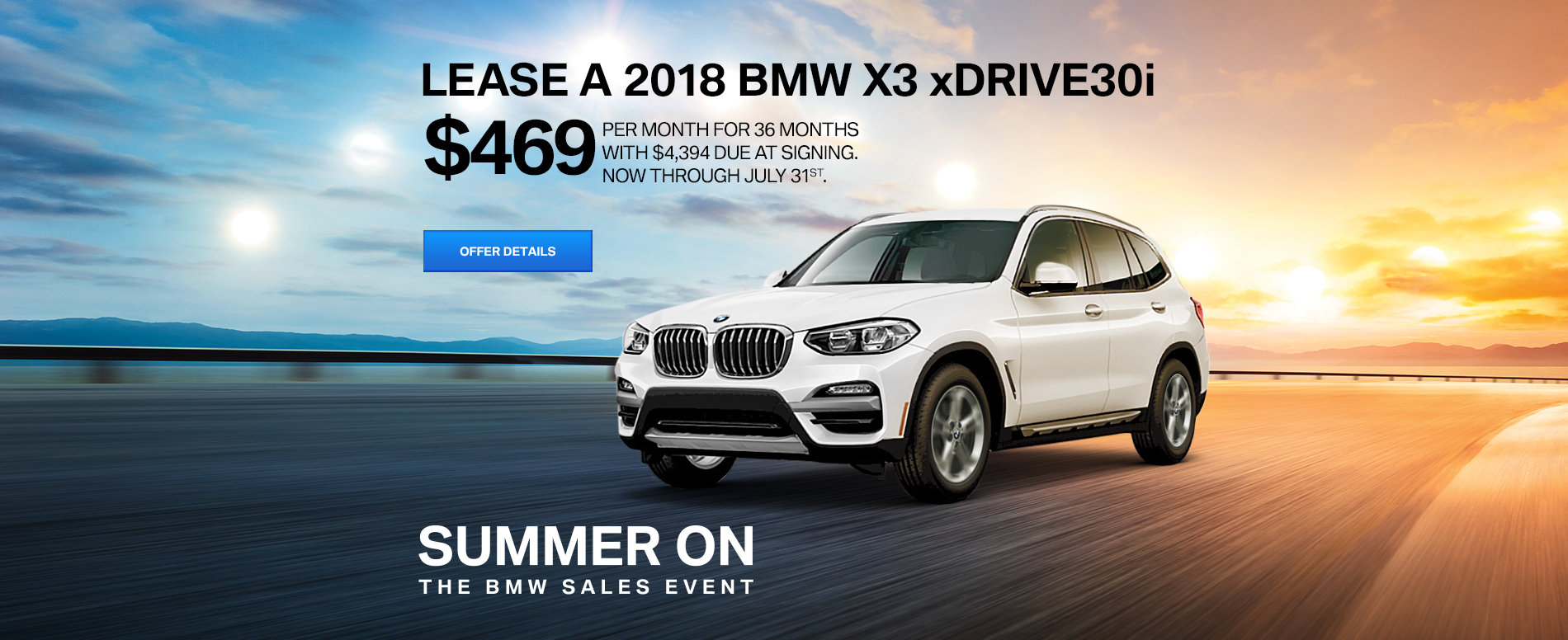 LEASE A 2018 X3 xDRIVE30i FOR $469 /MO FOR 36 MONTHS WITH $4,394