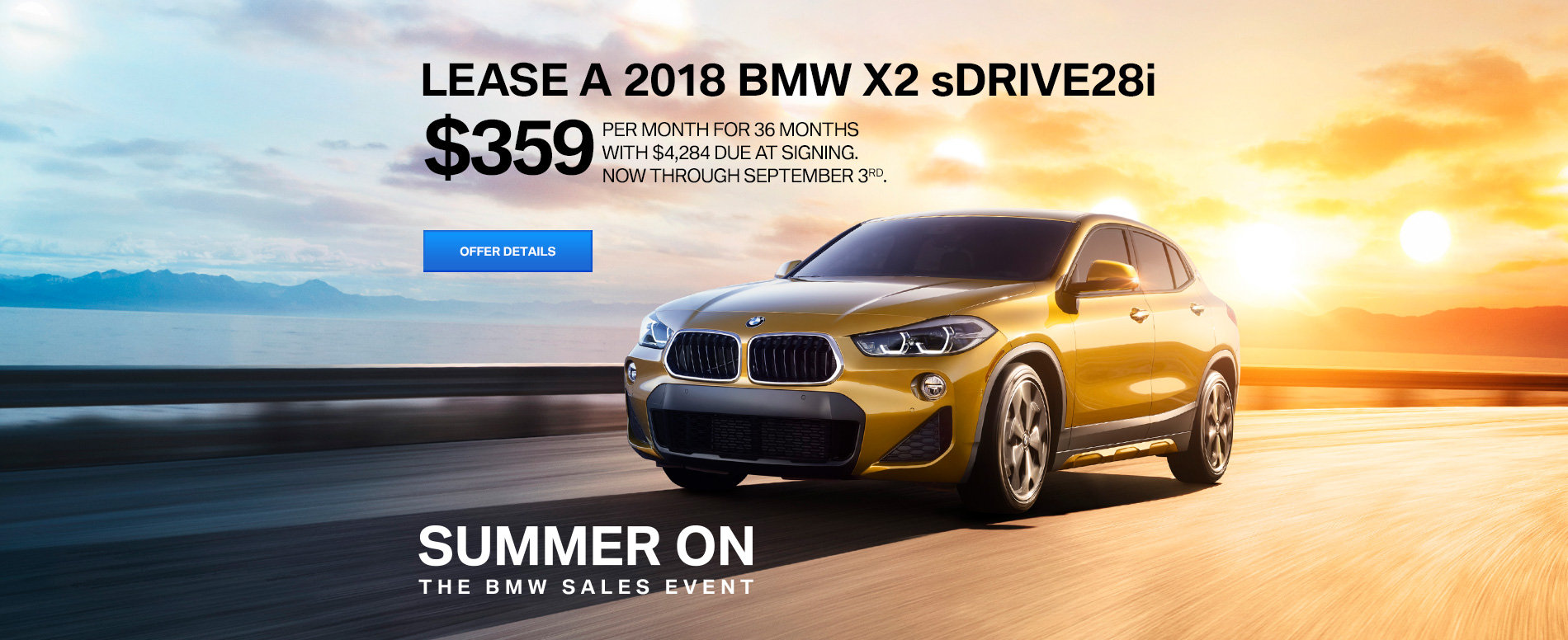 LEASE A 2018 X2 sDRIVE28i FOR $359 /MO FOR 36 MONTHS.