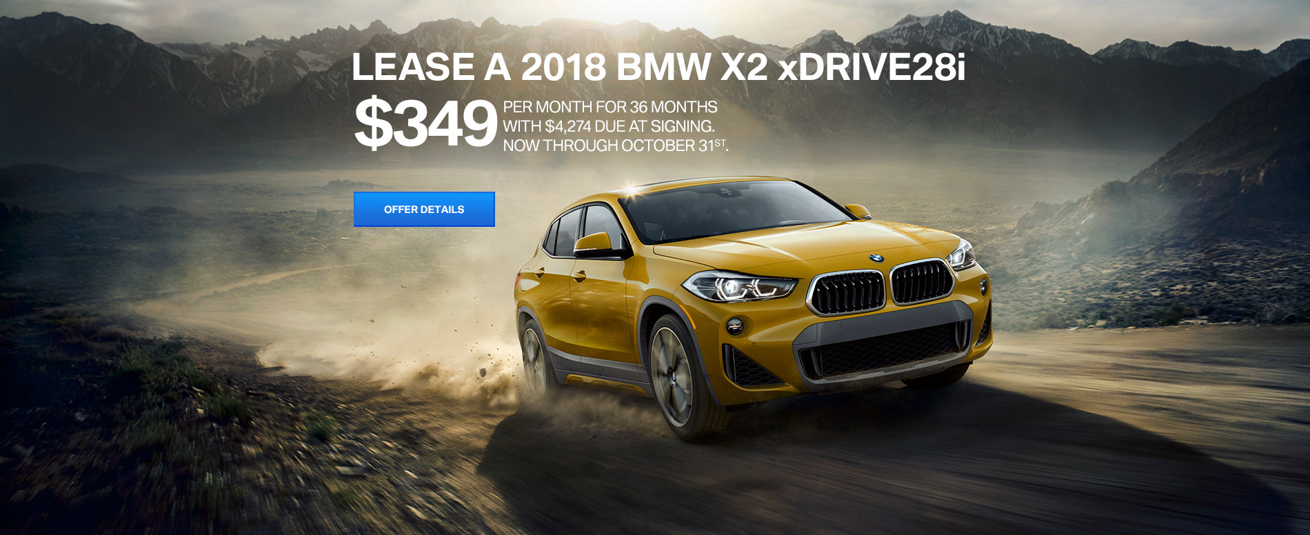 LEASE A 2018 BMW X2 xDRIVE28i FOR $349/MONTH FOR 36 MONTHS  WITH