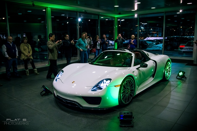 One of two 918s displayed in the showroom