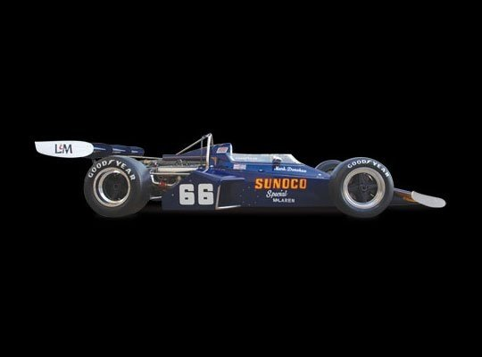 McLaren M16B (replica) | 1972 Indianapolis 500 Winner | Mark Donohue Engine: Drake Offenhauser | Horsepower: 850bhp @ 9,000 RPM