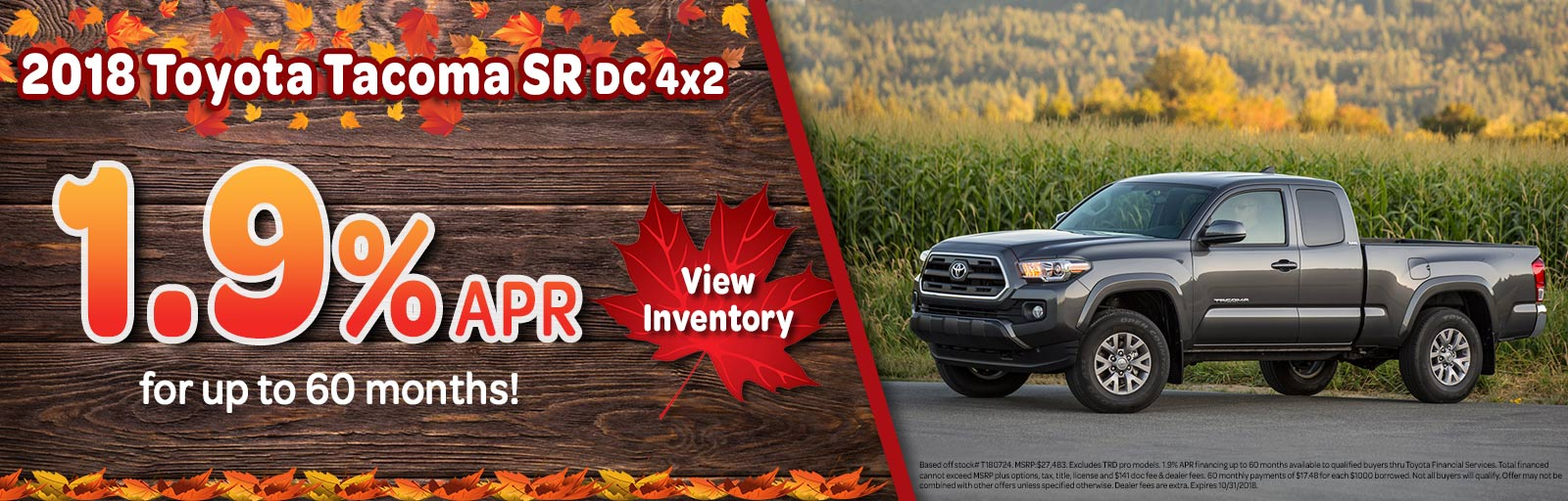 October 18 Tacoma. New Inventory