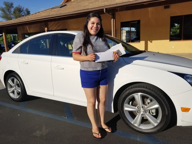 Norma Solis of Paso Robles  First car, 2016 Chev Cruze