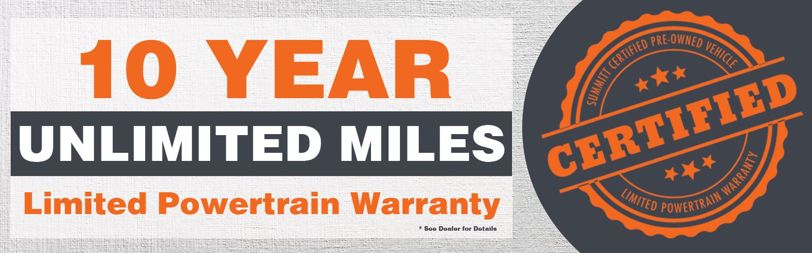 10 Year Million Mile Powertrain Warranty
