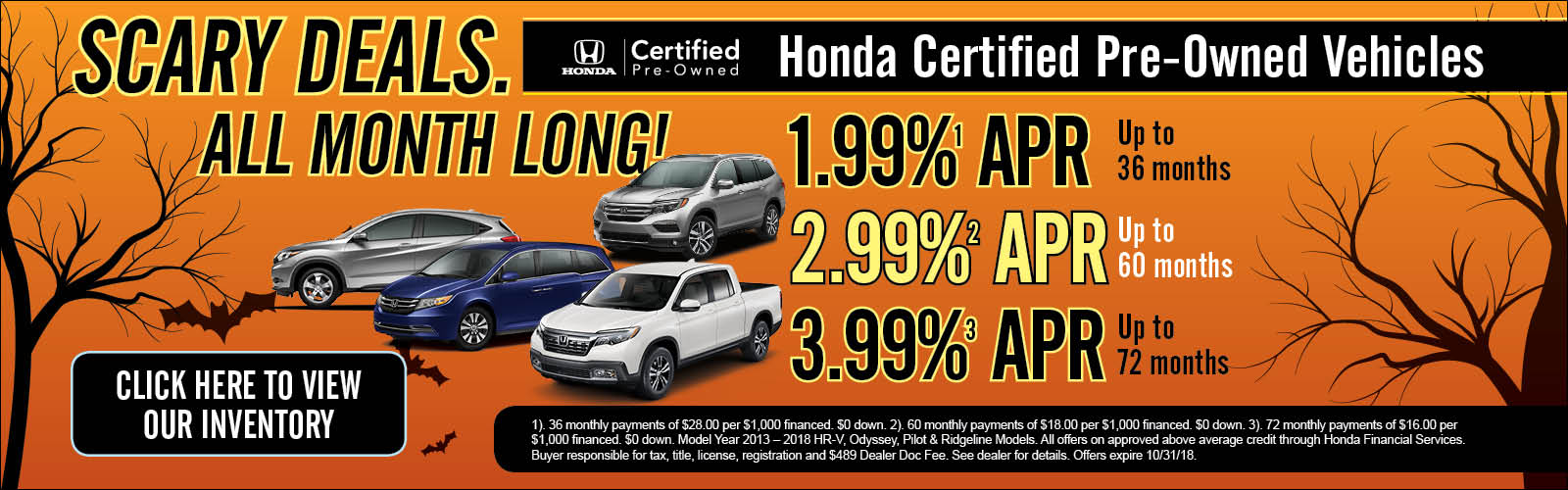 Exceptional Certified Pre Owned 10/2/18. All New Honda