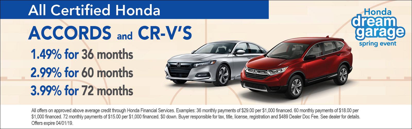 Accord CRV 3/15/19