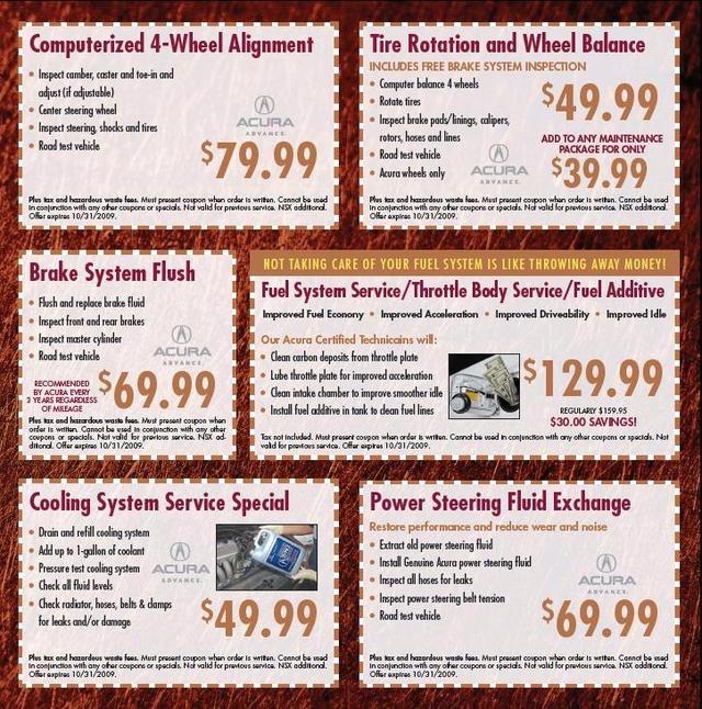 Acura Service Parts Deals Kearny Mesa Acura San Diego CA - Acura service coupons