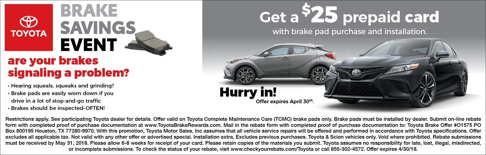 Brake Savings Event 4/2/18