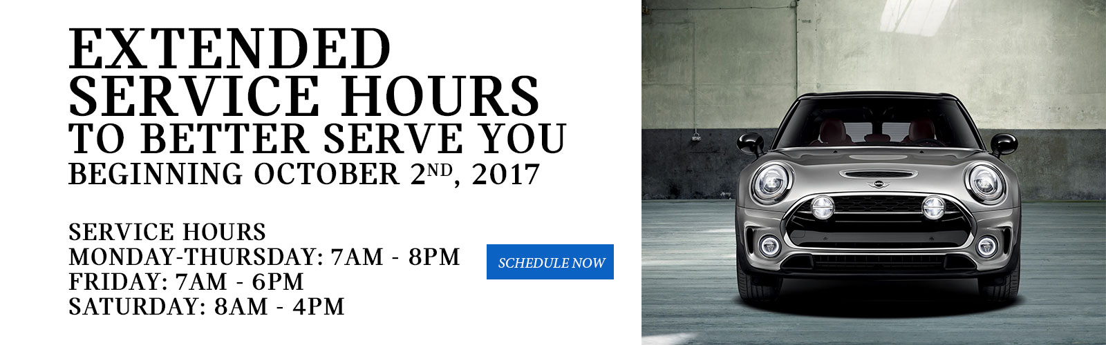 Extended Service Hours 9/25/17