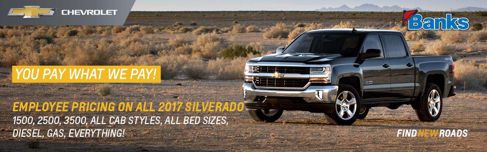 Employee Pricing on all 2017 Chevy Silverado
