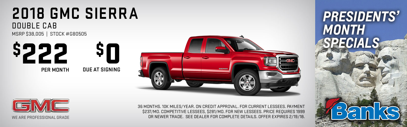 2018 GMC Sierra Presidents day lease deal