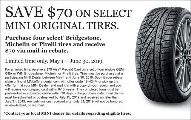 Save $70 On Select MINI Original Tires.