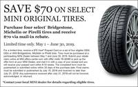 Save $70 On Select MINI Original Tires. - 97877