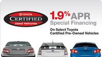 1.9% APR for 60mo on select Toyota Certified Used