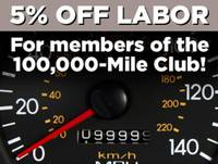 5% off labor - 100k-Mile Club