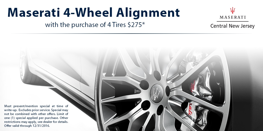MASERATI 4-WHEEL ALIGNMENT WITH PURCHASE OF 4 TIRES