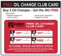 Buy 3 Oil Changes Get the 4th At No Charge!