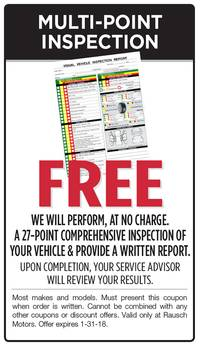 We Will Perform a 27-Point Comprehensive Inspection of Your Vehicle.