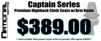 Captain Series - Premium Highback Cloth Seats w/Arm Rests