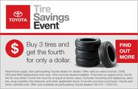 OCTOBER IS TOYOTA'S NATIONAL 'BUY 3 TIRES, GET 1 FOR $1 MONTH!